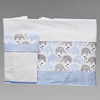 56b22ec4d0 Jogo de Lençol para Carrinho Estampado com 3 Peças - 8175 - Elefante  Estrela Azul