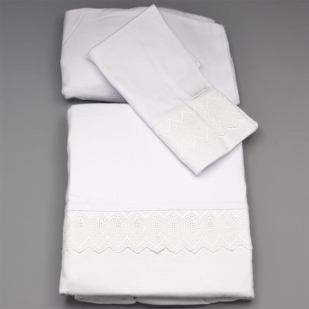 450690acf Jogo de Lençol Berço em Malha Classic Blanc Branco - LBM274C26 - Alô Bebê